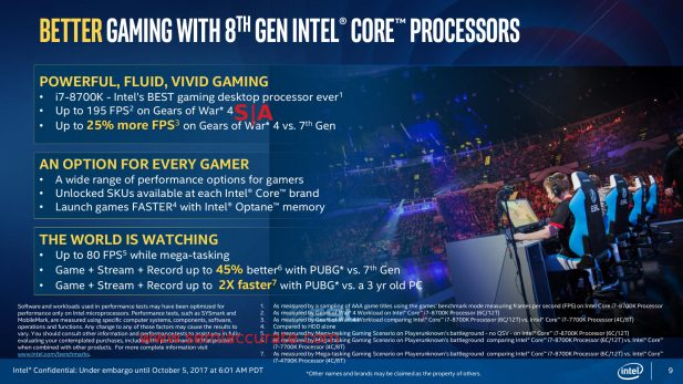 Intel 8th Gen gaming slide