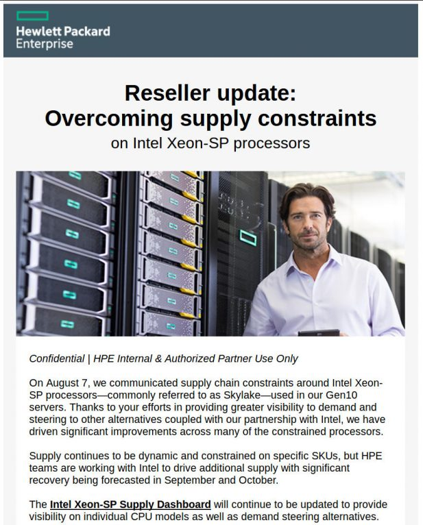HPE Xeon Supply Issue Page 1