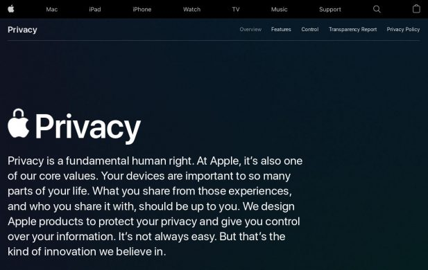 Apple privacy statement