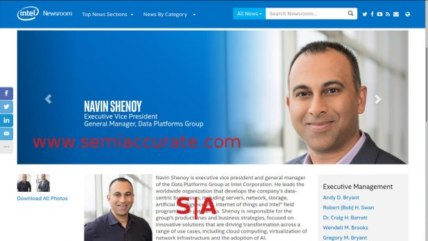 Intel's Navin Shenoy executive profile page with DPG listed for a title