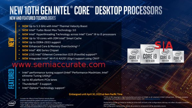 Intel 10th gen new feature table
