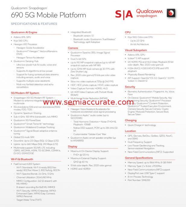 Qualcomm Snapdragon 690 5G specs