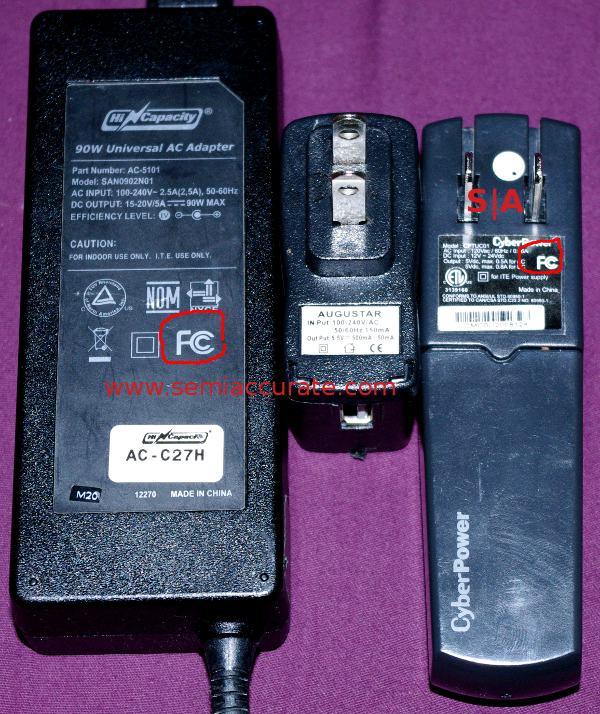 FCC logos on two of three power supplies