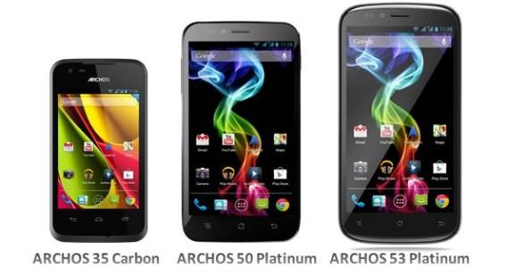 Archos Carbon 35, Platinum 50, and Platinum 53 cell phones