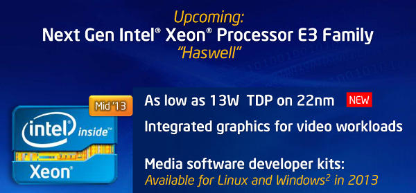 Intel Haswell Xeon E3 feature list